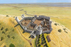 IC212/001; Hadleigh Castle; Reconstruction drawing of the castle as it appeared c.1370, after Edward III's rebuilding campaign